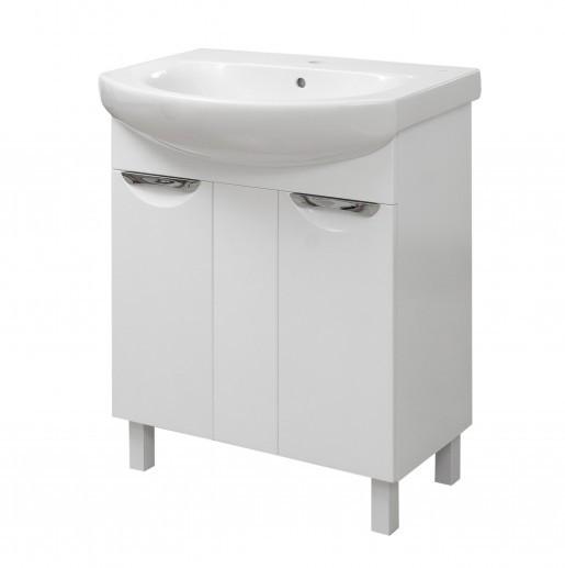 Тумба з раковиною в ванну 70 см глянсова Сансервис ЛАУРА ТН Laura 70 Лотос білий