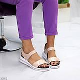 Модные кожаные белые женские босоножки на липучках натуральная кожа, фото 2