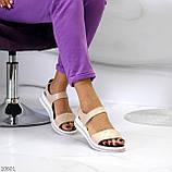 Модные кожаные белые женские босоножки на липучках натуральная кожа, фото 3