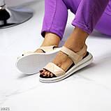 Модные кожаные белые женские босоножки на липучках натуральная кожа, фото 4