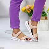Модные кожаные белые женские босоножки на липучках натуральная кожа, фото 5