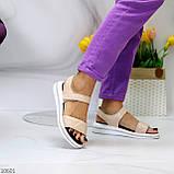 Модные кожаные белые женские босоножки на липучках натуральная кожа, фото 6