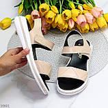 Модные кожаные белые женские босоножки на липучках натуральная кожа, фото 9