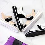 Модные кожаные белые женские босоножки на липучках натуральная кожа, фото 10