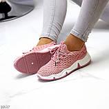Розовые легкие дышащие тканевые текстильные женские кроссовки 2021, фото 2