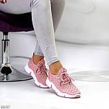 Розовые легкие дышащие тканевые текстильные женские кроссовки 2021, фото 3