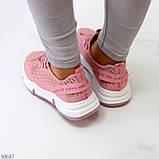 Розовые легкие дышащие тканевые текстильные женские кроссовки 2021, фото 4