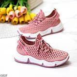 Розовые легкие дышащие тканевые текстильные женские кроссовки 2021, фото 6
