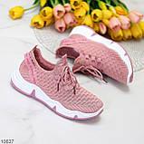 Розовые легкие дышащие тканевые текстильные женские кроссовки 2021, фото 8