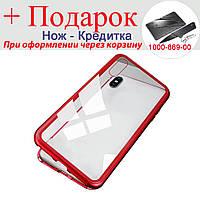 Магнитный чехол для iPhone XS Max из закаленного стекла iPhone XS Max Красный, фото 1