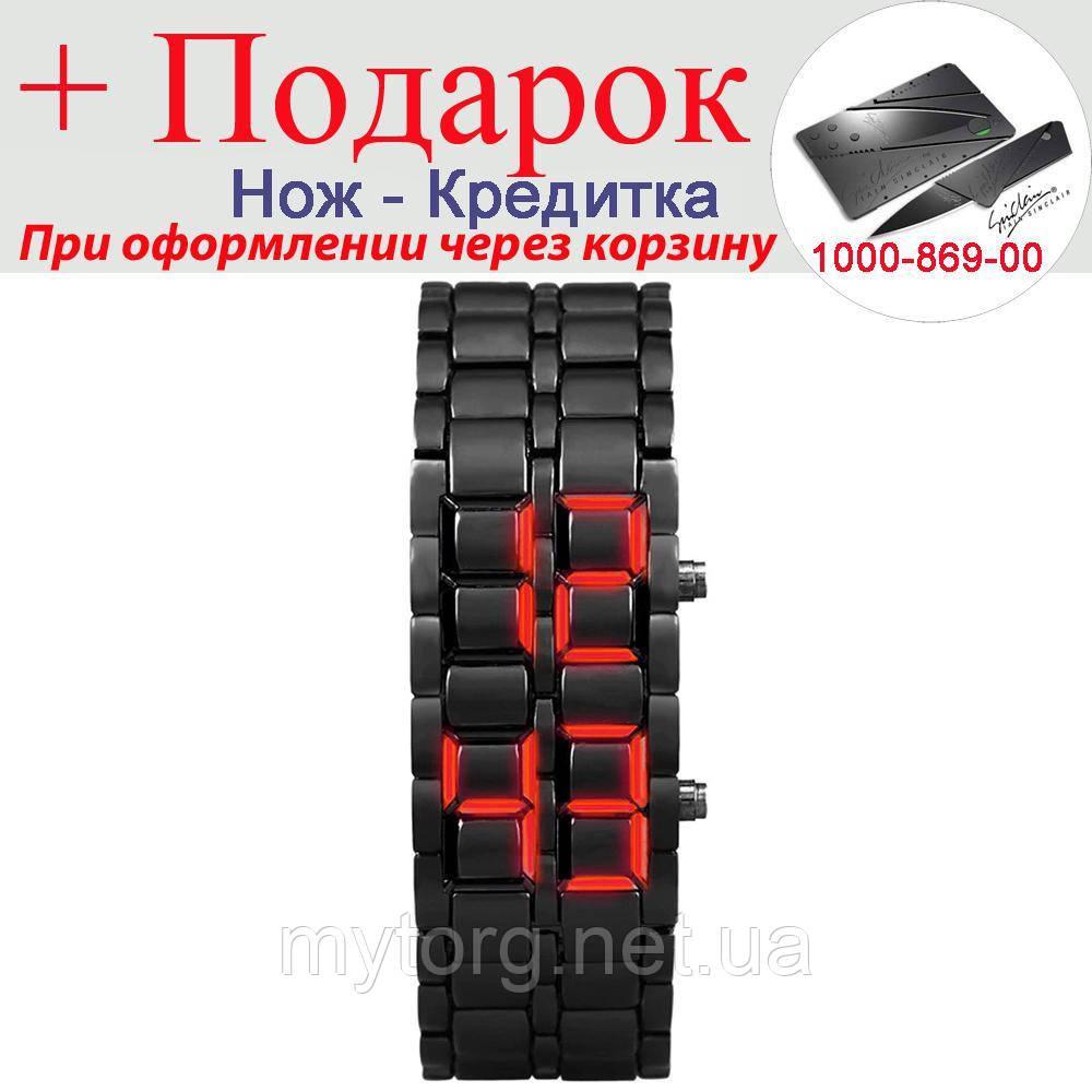 Часы Samurai светодиодные  Черный с красным