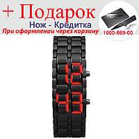 Часы Samurai светодиодные  Черный с красным, фото 1