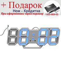 Настенные часы 3D Digoo с будильником светодиодные Белый корпус Синий, фото 1