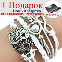 Браслет сова, жіночий, білий Срібний, фото 1