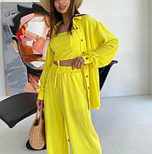 Женский костюм, креп жатка Американка, р-р 42-44; 44-46 (желтый)