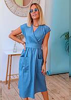 Літнє плаття на запах з кишенями Амелі, фото 1