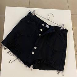 Юбка-шорты два в одном с пуговицами впереди M, черный