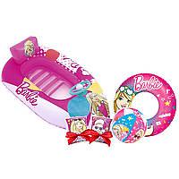 Надувной набор 4 в 1 Bestway 66204 «Барби» Ребенку для плавания лодочка, круг и нарукавники в Подарок Розовый
