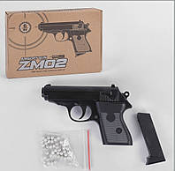 Пистолет ZM 02 L 00018 (36) на пульках, металлический, в коробке
