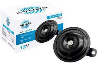 "Сигнал12v равлик 2конт. дисковий Ø 90mm ""Сонар"" SAZ-9 (420hz) - без реле (1шт/уп.карт.)"