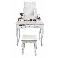 Туалетный столик косметический трюмо для макияжа в спальню с подсветкой и табуретом будуарный стол белый