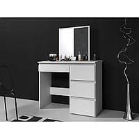 Туалетный Столик косметический женский трюмо с большим зеркалом столик для макияжа в спальню белый