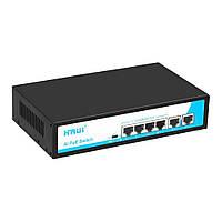 POE коммутатор 6-ти портовый Hongrui HR900-AF-42N, 4 порта 10/100 Мбит/с PoE + 2 порта 10/100 Мбит/с Uplink,