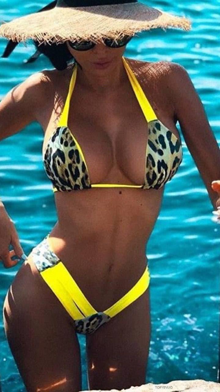 Леопардовый раздельный купальник
