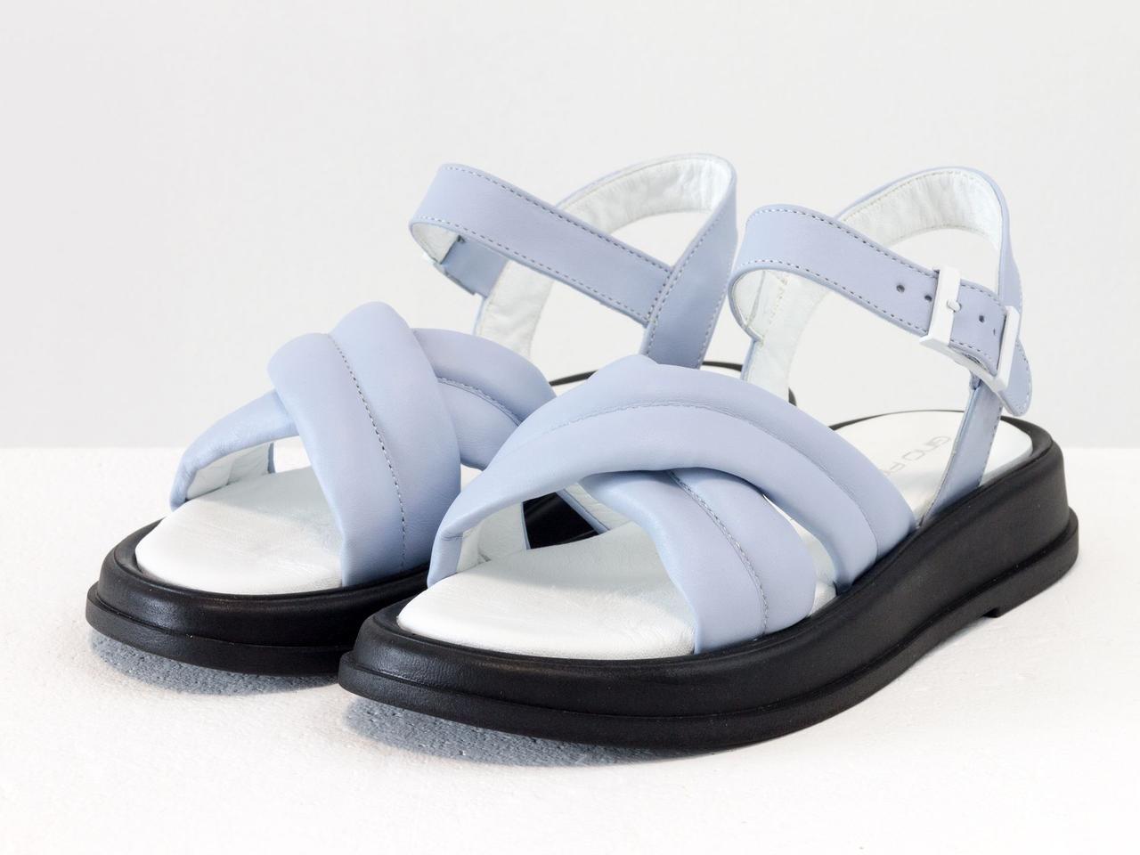 """Дизайнерские """"дутые"""" босоножки на платформе, выполнены из натуральной итальянской кожи голубого цвета"""