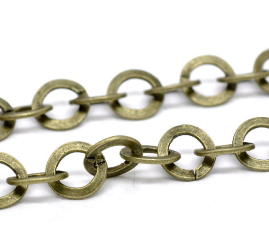 Ланцюжок на метраж Finding Плетіння хрест крупне кругле звено Антична бронза Метал 10 мм Ціна за 1 метр
