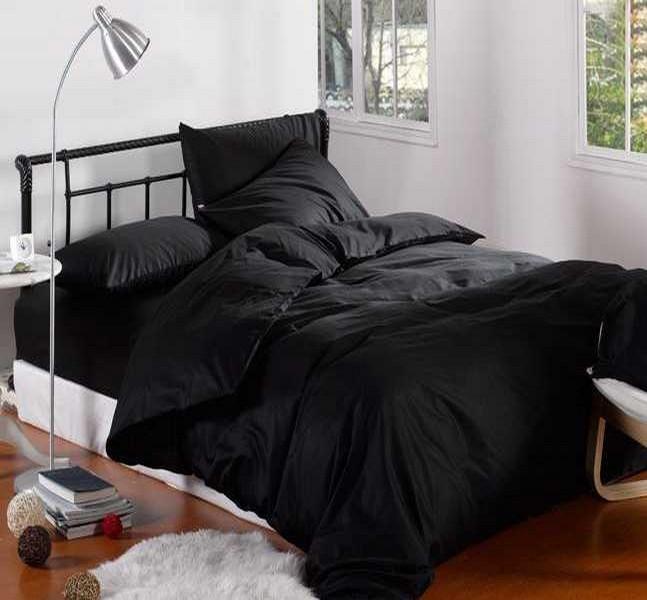 Комплект постельного белья Сатин Премиум Черный