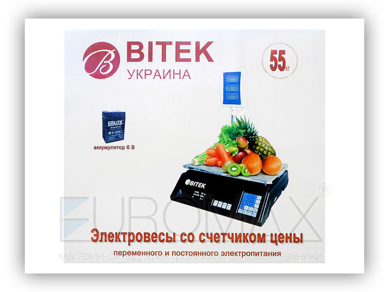 Ваги електронні торгові 55кг 6В зі стійкою BITEK YZ-208+