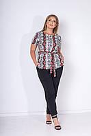 Летний женский костюм-двойка больших размеров: блузка с поясом + брюки  с карманами (р.48-54). Арт-2453/15