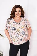 """Блузка жіноча полубатальная з квітковим принтом, розміри 56-62 """"ASTRA"""" недорого від прямого постачальника"""