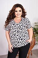 """Блузка жіноча полубатальная c принтом, розміри 56-62 """"ASTRA"""" недорого від прямого постачальника"""