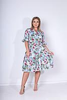 Летнее яркое цветное платье больших размеров с поясом и на пуговицах р.48-54. Арт-2451/15