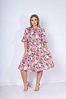 Летнее яркое цветное платье больших размеров с поясом и на пуговицах р.48-54. Арт-2451/15 розовое