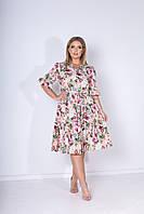 Летнее яркое цветное платье больших размеров с поясом и на пуговицах р.48-54. Арт-2451/15 бежевое