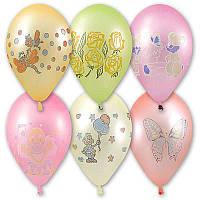 """Воздушные шарики """"Неон ассорти с рисунком 12"""" 100 шт."""