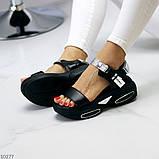 Женские босоножки спортивные на массивной подошве на липучках , платформа 6 см, белые бежевые черные, фото 5