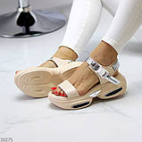 Женские босоножки спортивные на массивной подошве на липучках , платформа 6 см, белые бежевые черные, фото 4