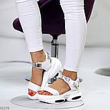 Женские босоножки спортивные на массивной подошве на липучках , платформа 6 см, белые бежевые черные, фото 2