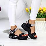 Женские босоножки спортивные на массивной подошве на липучках , платформа 6 см, белые бежевые черные, фото 6