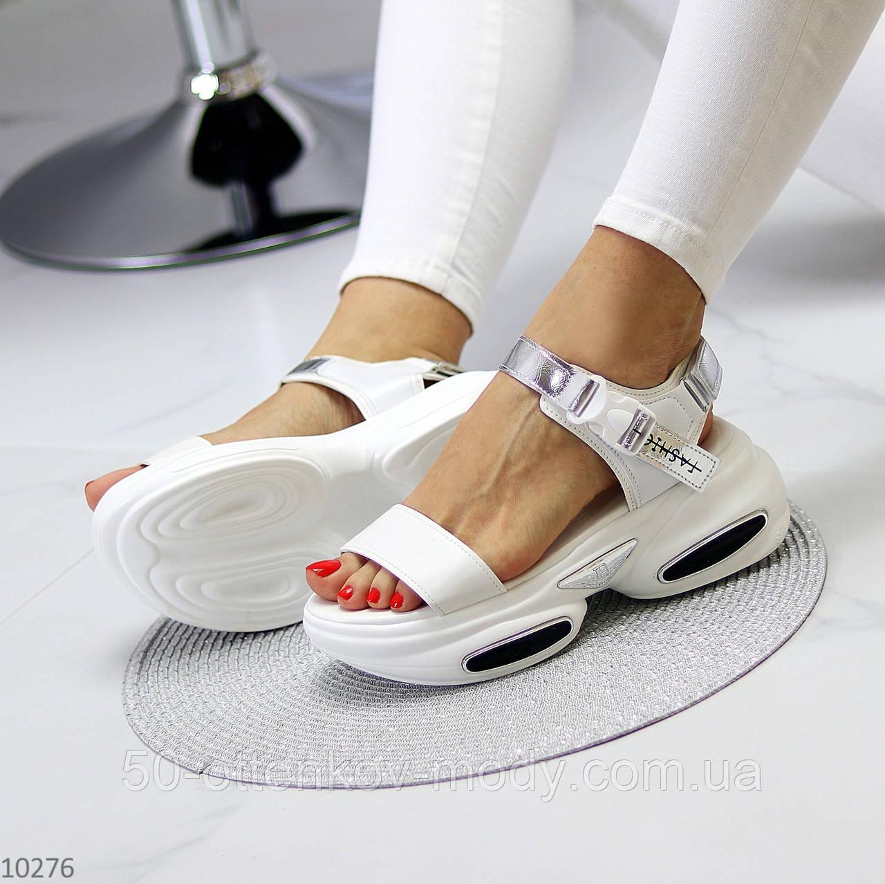 Женские босоножки спортивные на массивной подошве на липучках , платформа 6 см, белые бежевые черные