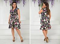Летнее яркое цветное платье больших размеров с воланами на груди р.48-54. Арт-2449/15