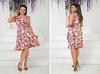 Летнее яркое цветное платье больших размеров с воланами на груди р.48-54. Арт-2449/15 розовое