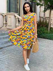 Летнее женское платье в цветочный принт