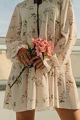 Летне женское платье с длиным рукавом
