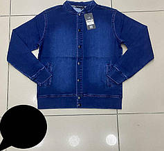 Бомбер джинсовый на кнопках для мальчиков 158,164,170,176  роста