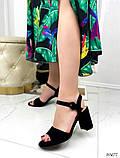Женские босоножки на удобном устойчивом каблуке 8 см черные бежевые, фото 3